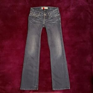 BKE Stella Boot Distressed & Faded Low Rise Dark Wash Grey Black Bootcut Jeans